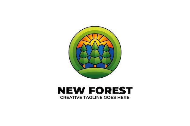 Logo coloré camp extérieur forêt nature