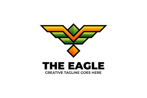 Logo coloré de l'emblème de l'aile d'aigle