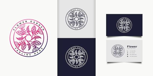 Logo coloré de fleur et de feuille dans un cercle avec le style de ligne et le gradient coloré, approprié à l'hôtel, au spa, au logo de produit de beauté