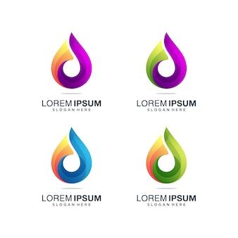 Logo coloré de goutte d'eau, logo coloré de lettre d