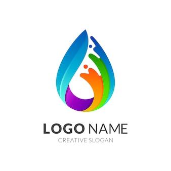 Logo coloré de goutte d'eau de vague