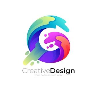 Logo coloré avec illustration de conception de lettre g