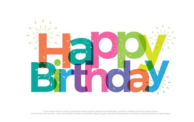 Logo coloré joyeux anniversaire avec feux d'artifice