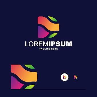 Logo coloré de lettre d numérique