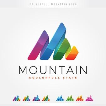 Logo coloré de montagne de rayures