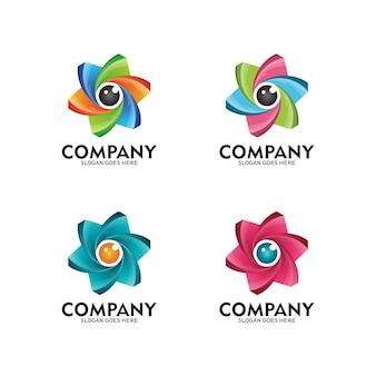 Logo coloré d'oeil et de fleur. logo d'oeil d'objectif de caméra et icône de fleur-vecteur