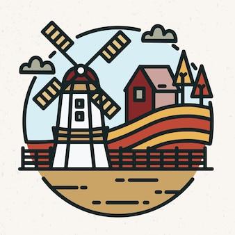 Logo coloré avec paysage de campagne
