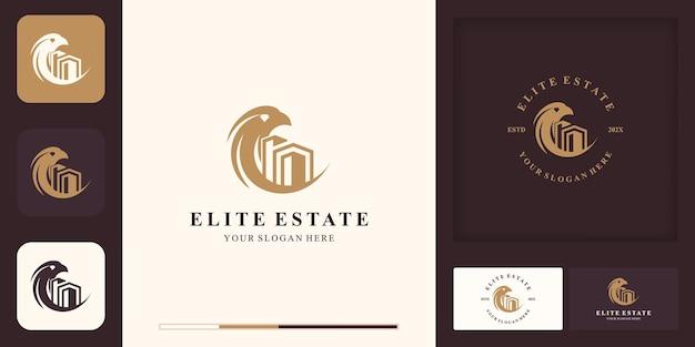 Logo de combinaison d'aigle immobilier et conception de carte de visite