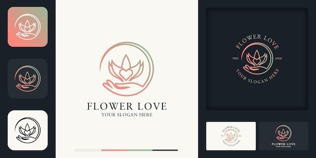 Logo de combinaison d'amour de fleur de main et conception de carte de visite