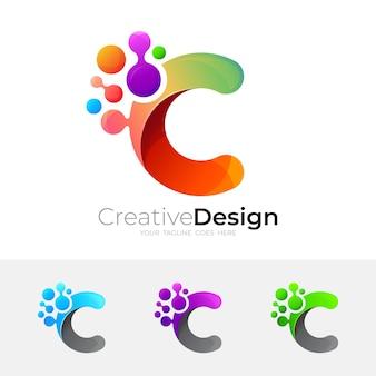 Logo c et combinaison de conception médicale, icône de molécule