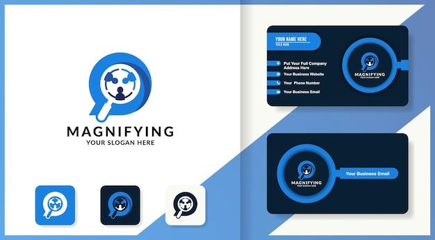 Logo de combinaison d'équipe de discussion grossissant et conception de carte de visite