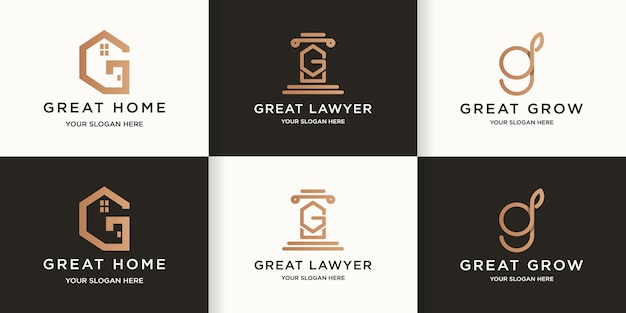 Logo de combinaison de feuilles de loi maison lettre g