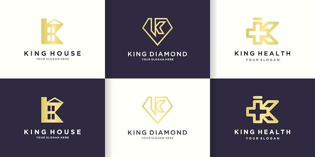 Logo de combinaison de lettre k avec maison, diamant et santé