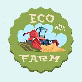 Logo combiner la récolte de blé dans le champ eco farm