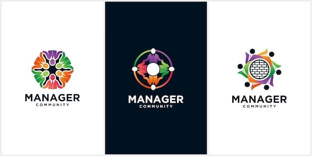 Logo de la communauté du gestionnaire, personnes, pour la communauté des personnes et l'association des personnes logo d'entreprise moderne