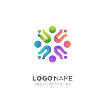 Logo de communauté de personnes colorées abstraites