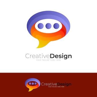 Logo de communication avec icône de chat, logos de message