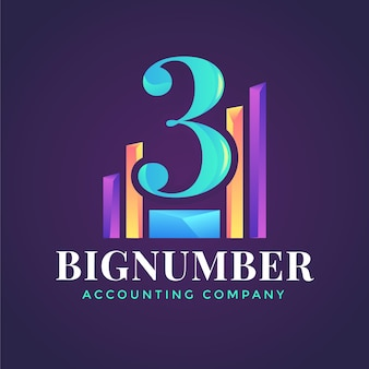 Logo de comptabilité dégradé sur fond sombre