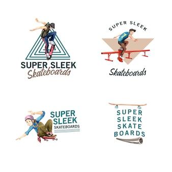 Logo Avec Concept De Design De Planche à Roulettes Pour Illustration Vectorielle Aquarelle De Marque Et Marketing. Vecteur gratuit