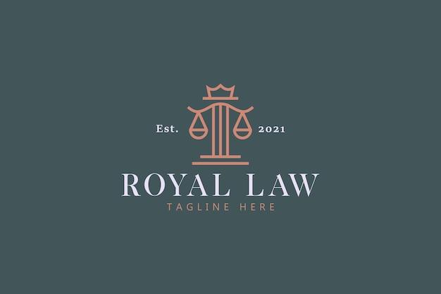 Logo de concept de droit royal et de justice