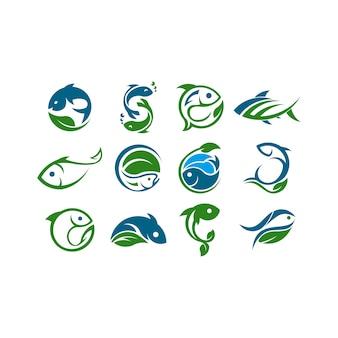 Logo de concept de ferme. modèle avec ferme et poisson. étiquette pour les produits de ferme naturels.