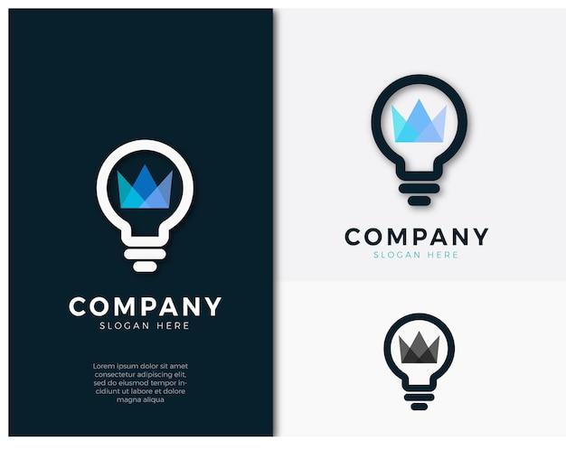 Logo de concept de lampe de couronne