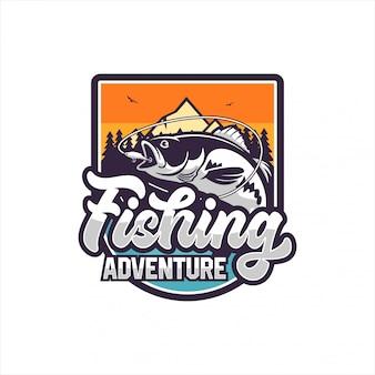 Logo de conception d'aventure de pêche