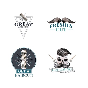 Logo avec conception de concept de coiffeur pour la marque.