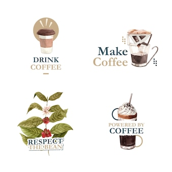 Logo avec conception de concept de journée internationale du café pour l'aquarelle de marque et marketing