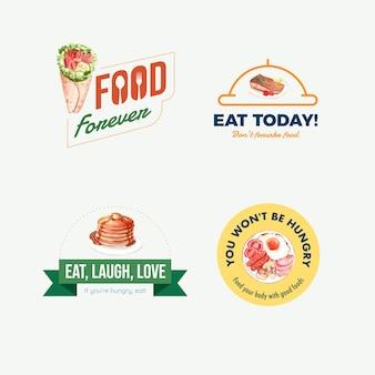 Logo avec conception de concept de journée mondiale de l'alimentation pour le restaurant et l'aquarelle de marque