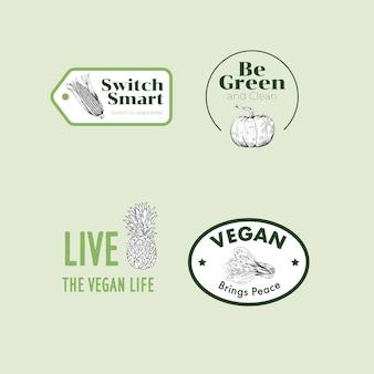 Logo avec conception de concept de nourriture végétalienne pour la marque.