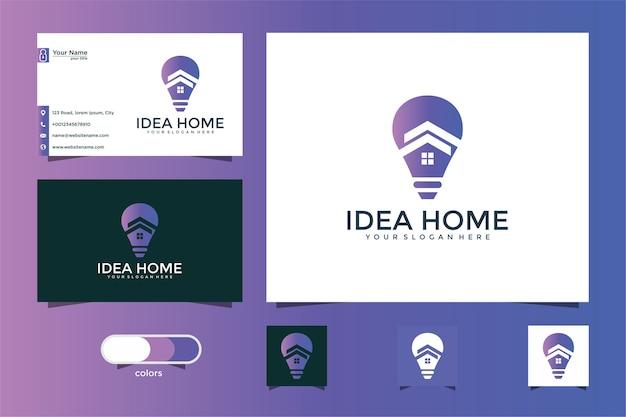 Logo de conception créative maison et ampoule et carte de visite