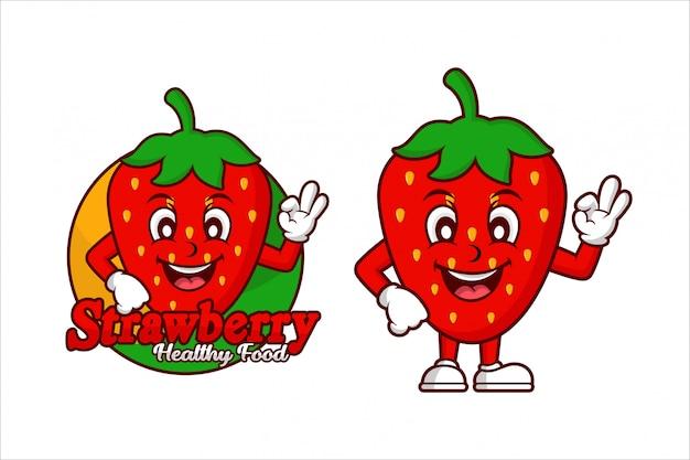 Logo de conception de dessin animé de caractère de nourriture saine aux fraises