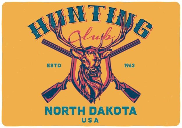 Logo de conception de deux fusils et tête de cerf