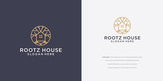 Logo de conception d'entreprise de maison d'arbre de luxe