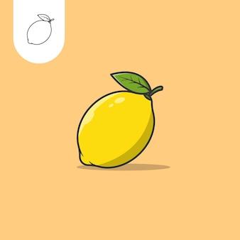 Logo de conception d'icône plate citron