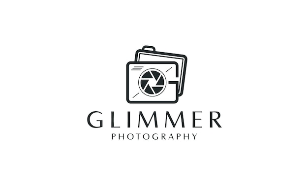 Logo de conception des initiales de la caméra g avec l'icône de l'objectif