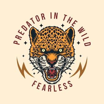 Logo de conception d'insigne léopard vintage