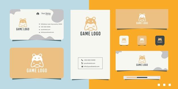 Logo de conception de jeu de tête d'ours et carte de visite