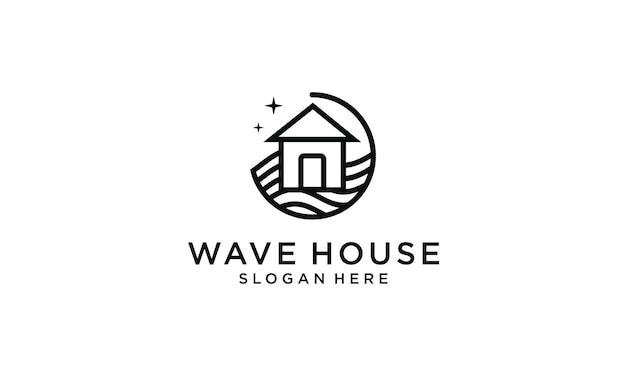 Logo de conception de maison avec des vagues