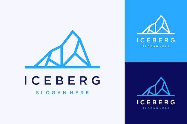 Logo de conception naturel ou iceberg avec dessin au trait