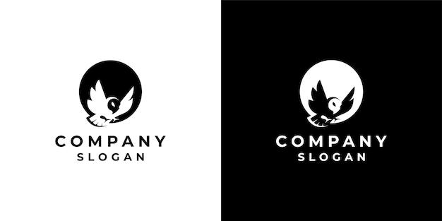 Logo de conception d'oiseau de style espace négatif