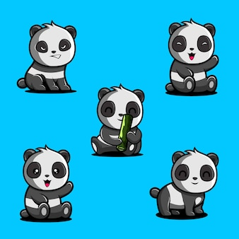 Logo de conception de panda mignon