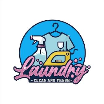 Logo de conception propre et fraîche de blanchisserie