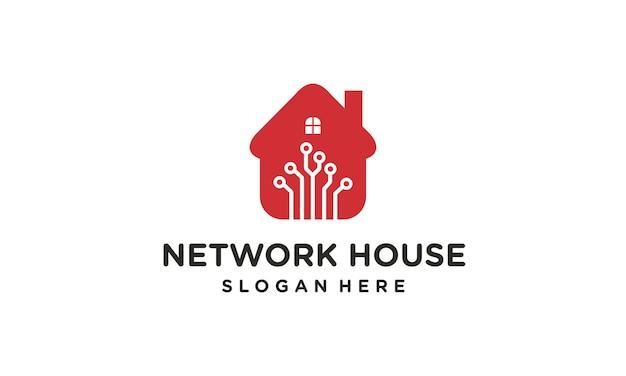 Logo de conception de réseau de technologie domestique