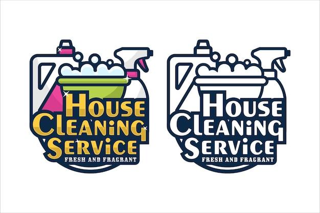 Logo De Conception De Service De Nettoyage De Maison Vecteur Premium