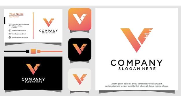 Logo de conception de technologie v