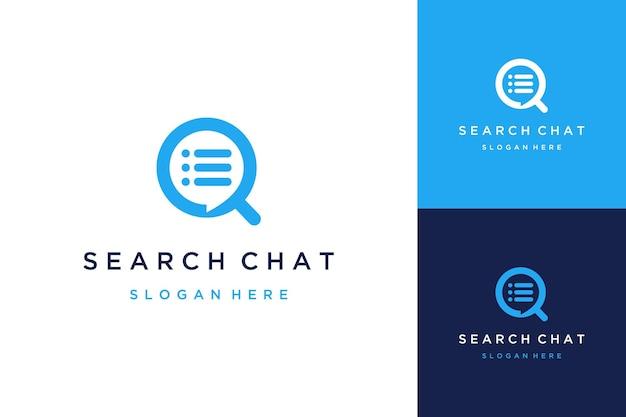 Logo de conception technologique ou loupe avec bulles de discussion et listes