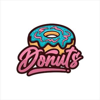 Logo de conception de vecteur de beignets