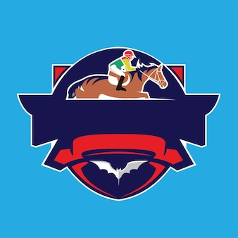 Logo de conception de vecteur emblème de course de chevaux